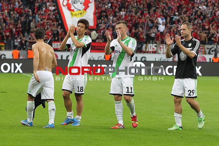 14.09.2013, BayArena, Leverkusen, GER, 1.FBL, Bayer Leverkusen vs VFL Wolfsburg, im Bild<br /> Wolfsburger Spieler sind entaeuscht / ent&auml;uscht / traurig nach der 3:1 Niederlage in Leverkusen. von links:  Diego (Wolfsburg #10), Ja-Cheol Koo (Wolfsburg #18) und Ivica Olic (Wolfsburg #11) sowie Jan Pol&aacute;k (Wolfsburg #29)<br /> <br /> Foto &copy; nph / Mueller