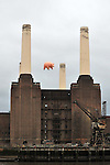 Pigs on a wing. Pink Floyd fly their iconic pig over Battersea Power Station, 35 years on. Battersea. London. 26/09/2011. MANDATORY Credit Sportinpictures/Garry Bowden - NO UNAUTHORISED USE - 07837 394578