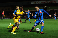 Bolton Wanderers' Josh Emmanuel under pressure from Rochdale's Matt Gillam<br /> <br /> Photographer Kevin Barnes/CameraSport<br /> <br /> EFL Leasing.com Trophy - Northern Section - Group F - Rochdale v Bolton Wanderers - Tuesday 1st October 2019  - University of Bolton Stadium - Bolton<br />  <br /> World Copyright © 2018 CameraSport. All rights reserved. 43 Linden Ave. Countesthorpe. Leicester. England. LE8 5PG - Tel: +44 (0) 116 277 4147 - admin@camerasport.com - www.camerasport.com