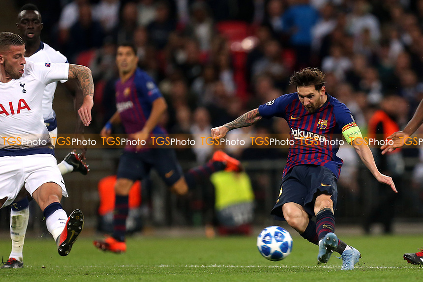 Lionel Messi of FC Barcelona hits the post with a shot during Tottenham Hotspur vs FC Barcelona, UEFA Champions League Football at Wembley Stadium on 3rd October 2018