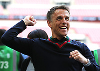 Phil Neville celebrates Salford City's victory and promotion to the Football League during AFC Fylde vs Salford City, Vanarama National League Football Promotion Final at Wembley Stadium on 11th May 2019