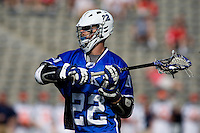 Ned Crotty (22) of Duke looks for a teammate during the ACC men's lacrosse tournament semifinals in College Park, MD.  Virginia defeated Duke, 16-12.