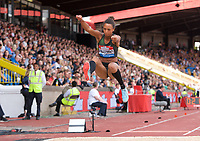 Malaika Mihambo of Germany competing in the Women's long jump during the Muller Grand Prix  IAAF Diamond League meeting at Alexander Stadium, Perry Barr, Birmingham.<br /> Picture by Alan Stanford +44 7915 056117<br /> 18/08/2018