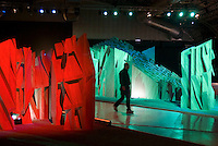 "milano, salone del mobile, fuori salone. futuropolis, opera artistica di Daniel Libeskind, architetto del nuovo quartiere in costruzione citylife fiera milano city --- milan, Salone del Mobile (the International Furniture Fair). futuropolis, work of art of Daniel Libeskind, architect of the new under construction district ""Citylife Fieramilanocity"""