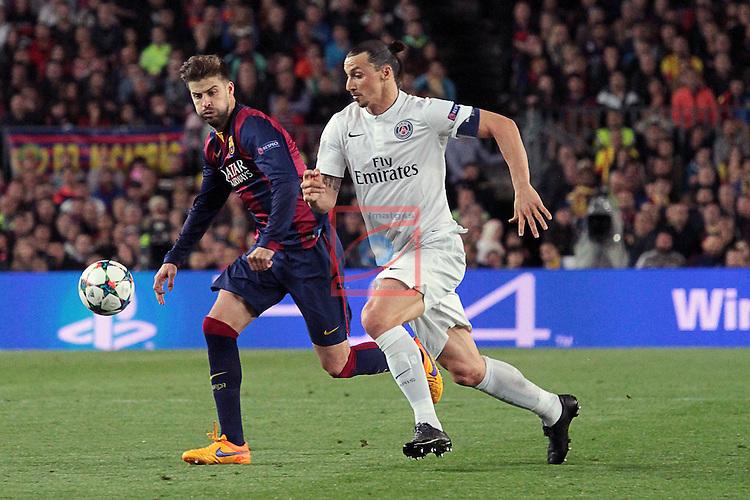 UEFA Champions League 2014/2015. <br /> Quarter-Finals - Second leg.<br /> FC Barcelona vs Paris SG: 2-0.<br /> Gerard Pique vs Zlatan Ibrahimovic.