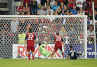 27 August 2011: San Jose Earthquakes forward Chris Wondolowski #8 scores the equalizer during a game between the San Jose Earthquakes and Toronto FC at BMO Field in Toronto..The game ended in a 1-1 draw.
