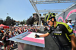 Esteban Chaves (COL) Mitchelton-Scott at sign on before the start of Stage 18 of the 2018 Giro d'Italia, running 196km from Abbiategrasso to Prato Nevoso, Italy. 24th May 2018.<br />