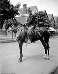 Highland Park PA:  Not sure why Brady Stewart is showing off his riding skills in Highland Park.  Brady Stewart learned to ride while homesteading in Idaho between 1909 and 1911.  People came out to see him on Wellesley Avenue in Highland Park!