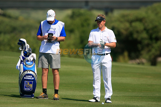 Luke Donald (ENG) waits to hit his 2nd shot on the 13th hole during the morning Semi-Final session on the Final Day of the Volvo World Match Play Championship in Finca Cortesin, Casares, Spain, 22nd May 2011. (Photo Eoin Clarke/Golffile 2011)