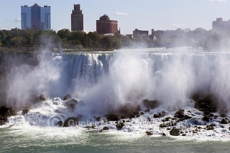 Niagara Falls ('American Falls') and the Niagara River, in the City of Buffalo, New York, USA