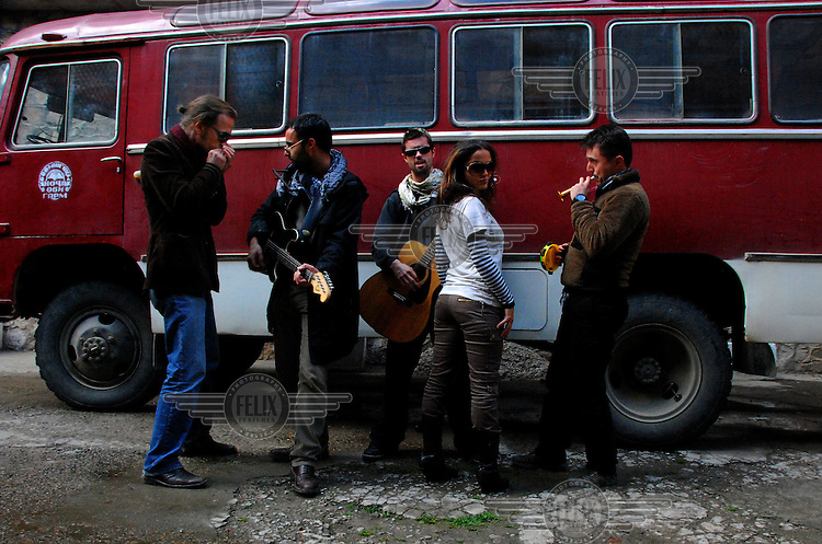 "Maral with the Kabul based band ""White City"" on a tour of Tajikistan."