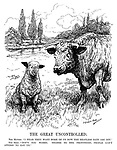 "The Great Uncontrolled. The Mutton. ""I hear they want more of us now the meatless days are off."" The Beef. ""Don't you worry. Thanks to the profiteers, people con't afford to eat us."" (a sheep and a cow discuss meat prices during WW1)"