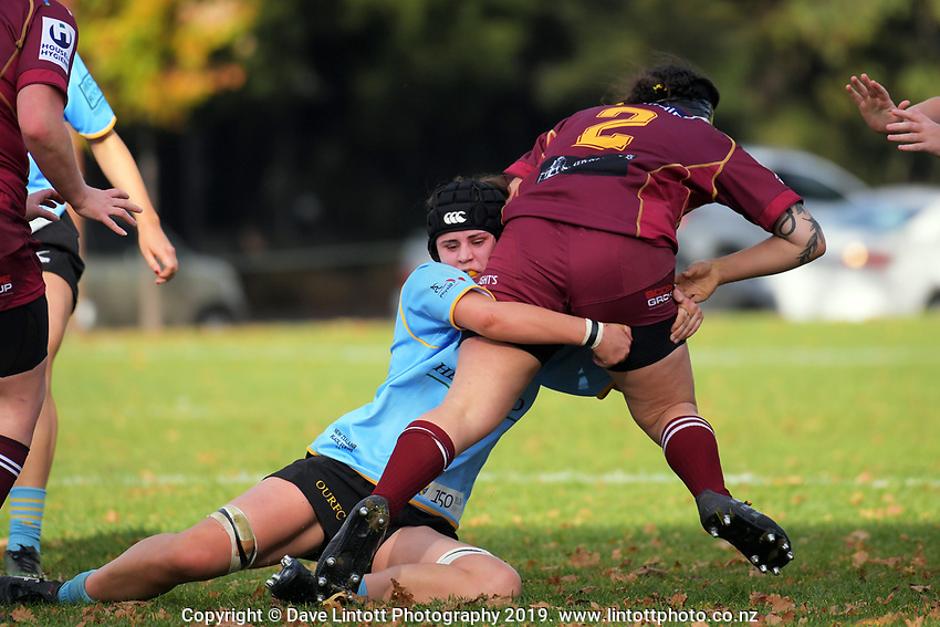 Action from the Otago women's rugby match between Alhambra Union and University at North Ground in Dunedin, New Zealand on Saturday, 11 May 2019. Photo: Dave Lintott / lintottphoto.co.nz