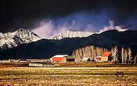Clouds break over the Bridger Mountains near Bozeman, Montana.