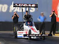 Feb 3, 2016; Chandler, AZ, USA; NHRA top fuel driver Richie Crampton during pre season testing at Wild Horse Pass Motorsports Park. Mandatory Credit: Mark J. Rebilas-USA TODAY Sports