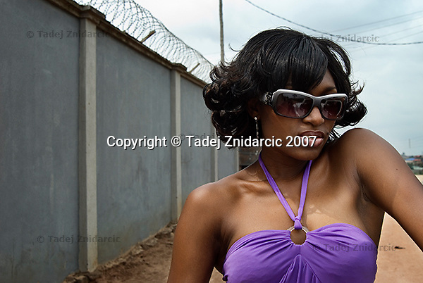 Actress Ufuoma Ejenobor on a set of a Nollywood movie production.