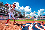 20 May 2018: Washington Nationals shortstop Trea Turner on deck during a game against the Los Angeles Dodgers at Nationals Park in Washington, DC. The Dodgers defeated the Nationals 7-2, sweeping their 3-game series. Mandatory Credit: Ed Wolfstein Photo *** RAW (NEF) Image File Available ***