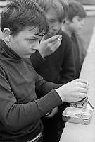 Boys smoking after school, Whitworth Comprehensive School, Whitworth, Lancashire.  1970.