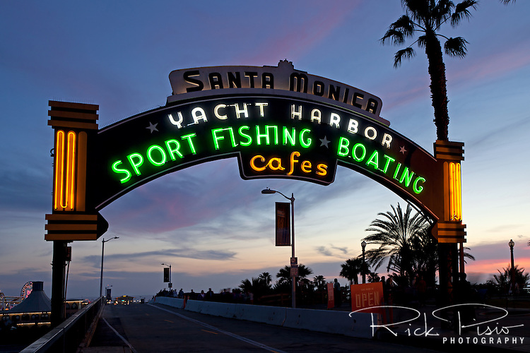 Neon archway at the entrance to the Santa Monica Pier in Santa Monica, California.