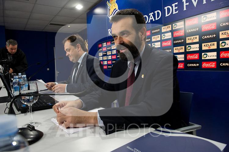 Real Sociedad's President Jokin Aperribay and the counselor Ignacio Serrats (r) in press conference.November 20,2013. (ALTERPHOTOS/Acero)