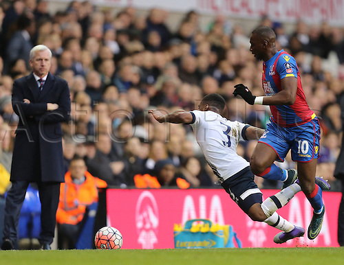 21.02.2016. White Hart Lane, London, England. Emirates FA Cup 5th Round. Tottenham Hotspur versus Crystal Palace. Danny Rose goes down from the Yannick Bolasie tackle