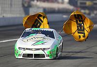 Feb 8, 2020; Pomona, CA, USA; NHRA pro stock driver Kenny Delco during qualifying for the Winternationals at Auto Club Raceway at Pomona. Mandatory Credit: Mark J. Rebilas-USA TODAY Sports