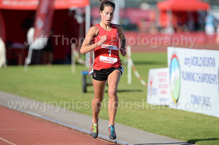 International athletics at Cardiff International stadium, Cardiff, South Wales - Tuesday 15th July 2014<br /> <br /> Elinor Kirk of Wales winning the Women's 3000m race. <br /> <br /> <br /> Photo by Jeff Thomas Photography