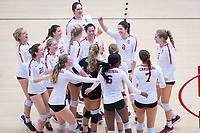 STANFORD, CA - November 4, 2018: Kathryn Plummer, Michaela Keefe, Holly Campbell, Mackenzie Fidelak, Jenna Gray, Morgan Hentz, Tami Alade, Meghan McClure, Sidney Wilson, Kate Formico, Payton Chang, Audriana Fitzmorris at Maples Pavilion. No. 2 Stanford Cardinal defeated the Utah Utes 3-0.