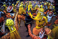 Pulikali dancers during the festival at Trichur, Kerala, India..Pulikali or Kaduvvakali is a two hundred year old folk dance form, practised mostly in Thrissur and Palghat districts of Kerala. It liberally makes use of forms and symbols of nature that finds expression in its bright, bold body painting and high-energy dance movements. The philosophy of Pulikali is that human and nature are integral parts of each other. So by fusing man and beast in its artistic language, it flamboyantly celebrates the connection. Arindam Mukherjee