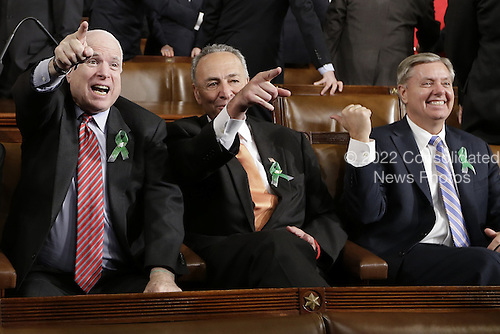 From left, United States Senator John McCain (Republican of Arizona), U.S. Senator Charles Schumer (Democrat of New York) and U.S. Senator Lindsey Graham (Republican of South Carolina) sit on Capitol Hill in Washington, DC on February 12, 2013, before President Barack Obama's State of the Union address during a joint session of Congress.     Credit: Charles Dharapak / Pool via CNP