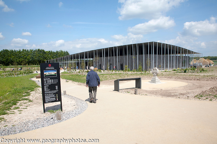 The new visitor centre at Stonehenge, Amesbury, England, UK, completed and opened in December 2013, architects Denton Corker Marshall