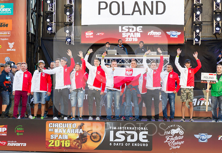 Poland enduro team during the presentation of the FIM international six days of enduro 2016 in Pamplona, Spain. October 09, 2016. (ALTERPHOTOS/Rodrigo Jimenez)