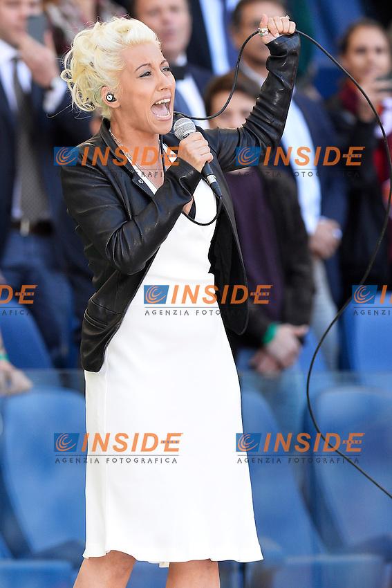 Malika Ayane canta l'inno di Mameli .Roma 26/05/2013 Stadio Olimpico.Football Calcio 2012/2013 .Calcio Finale Coppa Italia / Italy Cup Final.Roma Vs Lazio.Foto Andrea Staccioli Insidefoto