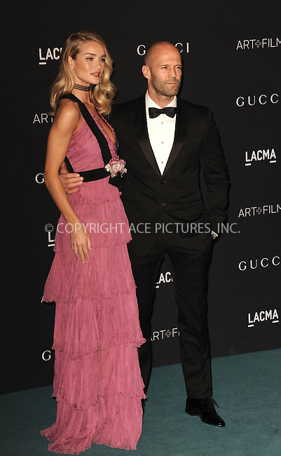WWW.ACEPIXS.COM<br /> <br /> November 7 2015, LA<br /> <br /> Rosie Huntington-Whiteley and Jason Statham arriving at the LACMA 2015 Art+Film Gala Honoring James Turrell And Alejandro G Inarritu at LACMA on November 7, 2015 in Los Angeles, California.<br /> <br /> By Line: Peter West/ACE Pictures<br /> <br /> <br /> ACE Pictures, Inc.<br /> tel: 646 769 0430<br /> Email: info@acepixs.com<br /> www.acepixs.com