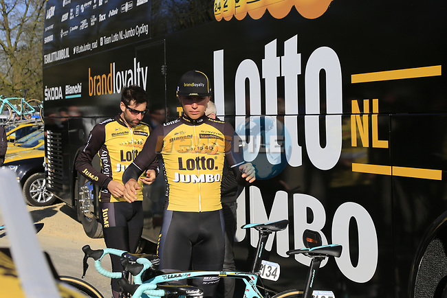 Team Lotto NL-Jumbo riders at the team bus before the start of Gent-Wevelgem in Flanders Fields 2017, running 249km from Denieze to Wevelgem, Flanders, Belgium. 26th March 2017.<br /> Picture: Eoin Clarke | Cyclefile<br /> <br /> <br /> All photos usage must carry mandatory copyright credit (&copy; Cyclefile | Eoin Clarke)