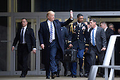 United States President Donald Trump departs the Central Intelligence Agency (CIA) headquarters after speaking speaks to 300 people January 21, 2017 in Langley, Virginia.<br /> Credit: Olivier Douliery / Pool via CNP