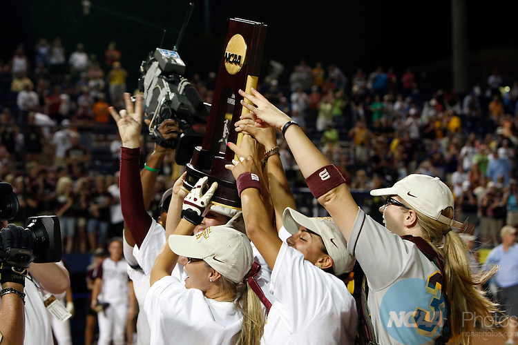03 JUNE 2008:  Arizona State University celebrates after their victory over Texas A&M University during the Division I Women's Softball Championship held at ASA Hall of Fame Stadium in Oklahoma City, OK.  Arizona State defeated Texas A&M 11-0 in Game Two to win the national title.  Stephen Pingry/NCAA Photos