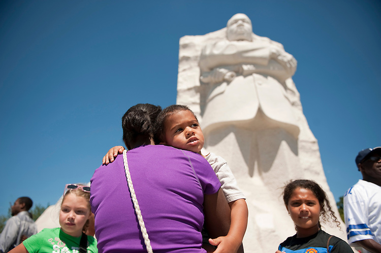 UNITED STATES - AUGUST 23:  Visitors view the Martin Luther King Jr. Memorial, located on the Tidal Basin.  The Memorial is open to the public and the official dedication ceremony will take place on August 28.  (Photo By Tom Williams/Roll Call)