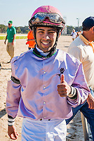 OLDSMAR, FL - JANUARY 21: Angel Cruz, after a race, on Skyway Festival Day at Tampa Bay Downs on January 21, 2017 in Oldsmar, Florida. (Photo by Douglas DeFelice/Eclipse Sportswire/Getty Images)