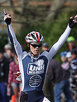 University of New Hampshire's Travis Mattison wins the  Men's D1 Criterium at the Eastern Collegiate Cycling Conference Championships on April 28, 2013.  Photo/©2013 Craig Houtz