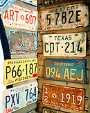 USA, New Mexico, old license plates on wall, Tinkertown, Route 66