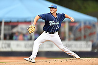 Asheville Tourists starting pitcher Lucas Gilbreath (35) delivers a pitch during game one of a double header against the Columbia Fireflies at McCormick Field on August 4, 2018 in Asheville, North Carolina. The Tourists defeated the Fireflies 5-1. (Tony Farlow/Four Seam Images)