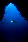 Diver silhouetted in a Blue Hole, Misool, Raja Ampat, West Papua, Indonesia, Pacific Ocean