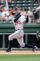 Center fielder Erison Mendez (9) of the Rome Braves bats in a game against the Greenville Drive on Sunday, June 14, 2015, at Fluor Field at the West End in Greenville, South Carolina. Rome won, 5-2. (Tom Priddy/Four Seam Images)
