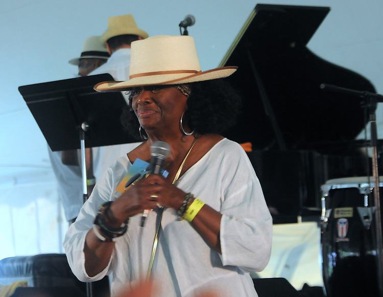 Greer Smith, the Founder and Producer of the Jazz in the Valley Festival, leading the audience in remembering the names of the departed JoAnn Cheatham, Michael Torsone, Richard 'Rodeo Rich' Washington, Don Quinn Kelley, and Steve Freeman, during an interlude in the event held in Waryas Park in Poughkeepsie, NY, on Sunday, August 21, 2016. Photo by Jim Peppler. Copyright Jim Peppler 2016 all rights reserved.