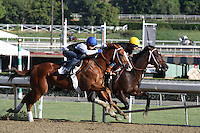Gabriel Charles (inside) and Dry Summer (outside) working for trainer Jeff Mullins at Santa Anita Park in Arcadia California