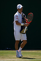 Kei Nishikori (9) of Japan in action during his defeat by Roberto Bautista Agut (18) of Spain in their Men's Singles Third Round Match today - Bautista Agut def Nishikori 6-4, 7-6, 3-6, 6-3<br /> <br /> Photographer Ashley Western/CameraSport<br /> <br /> Wimbledon Lawn Tennis Championships - Day 5 - friday 7th July 2017 -  All England Lawn Tennis and Croquet Club - Wimbledon - London - England<br /> <br /> World Copyright &not;&copy; 2017 CameraSport. All rights reserved. 43 Linden Ave. Countesthorpe. Leicester. England. LE8 5PG - Tel: +44 (0) 116 277 4147 - admin@camerasport.com - www.camerasport.com
