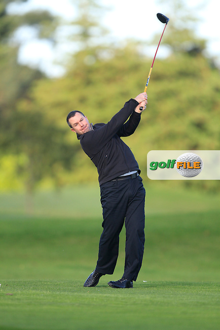 Lorcan Costello (Lucan G.C) on the 13th tee during Round 1 of The Cassidy Golf 103rd Irish PGA Championship in Roganstown Golf Club on Thursday 10th October 2013.<br /> Picture:  Thos Caffrey / www.golffile.ie
