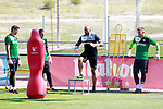 Getafe's goalkeeper coach Javier Barbero with Emi Martinez (l), Sergio Rodriguez Valero (2l) and Vicente Guaita during training session. September 12,2017.(ALTERPHOTOS/Acero)