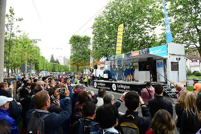Movistar Team on the podium for the team presentation before Stage 1 of the Criterium du Dauphine 2017, running 170.5km from Saint Etienne to Saint Etienne, France. 4th June 2017. <br /> Picture: ASO/A.Broadway | Cyclefile<br /> <br /> <br /> All photos usage must carry mandatory copyright credit (&copy; Cyclefile | ASO/A.Broadway)